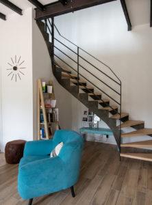 Escalier bois métal réalisé par un artisan